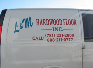 The side of the L&M Hardwood Floor, Inc. Van